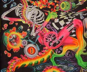 skull, acid, and colorful image