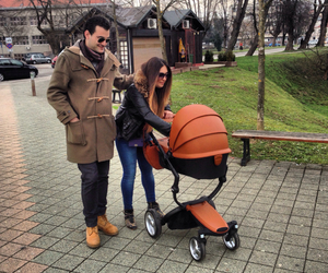 baby boy, family, and stroller image