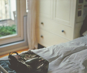 bag, bed, and girly image