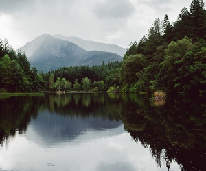 lake, forest, and mountains image