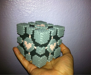 companion cube, portal, and perler beads image