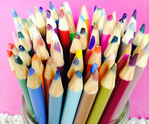 bright, colored pencils, and color image