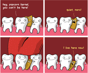 funny, popcorn, and teeth image