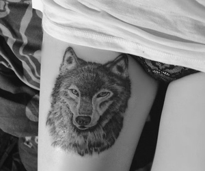 tattoo, wolf, and black and white image