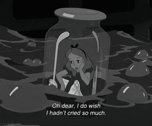 alice, black and white, and cry image
