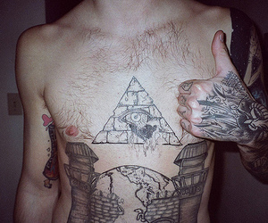 tattoo, boy, and illuminati image