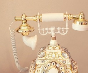 vintage, phone, and gold image