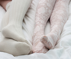 bed, crochet, and pantyhose image