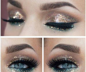 eyebrow, golden, and eyeliner image