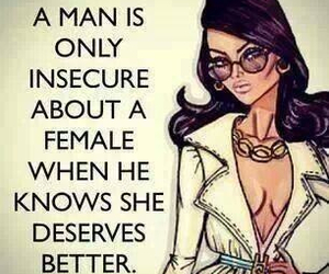 quote, insecure, and man image