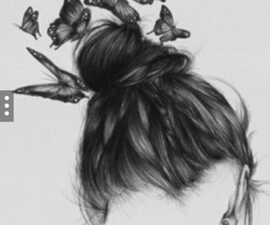 butterfly, draw, and girl image