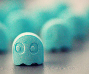 blue, pacman, and candy image