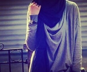 muslimah, hijab style, and love image