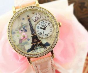 paris, watch, and pink image