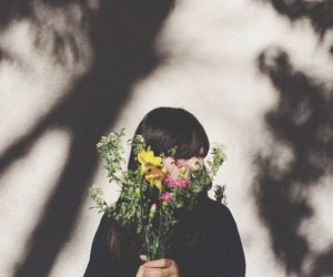 beauty, flower, and hair image