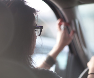 girl, car, and glasses image