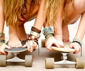 best friends, longboard, and friends image