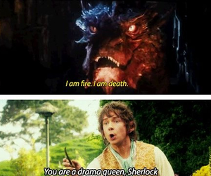 sherlock, smaug, and drama queen image