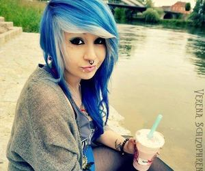 girl, blue, and blue hair image