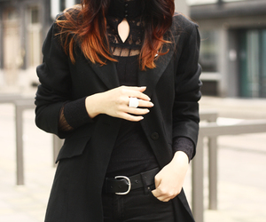 black coat, pale, and corporate goth image