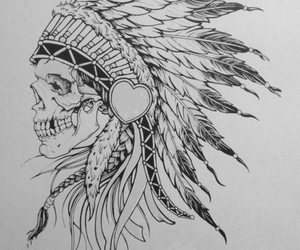 indian, skull, and tattoo image