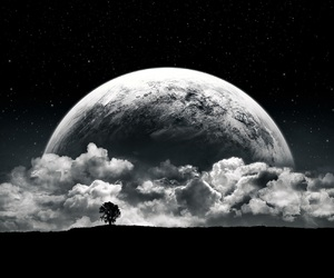 moon, clouds, and tree image