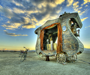 Burning Man, clouds, and desert image