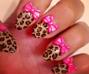 bows, leopard print, and nails image