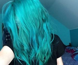 colored hair, colorful, and green hair image