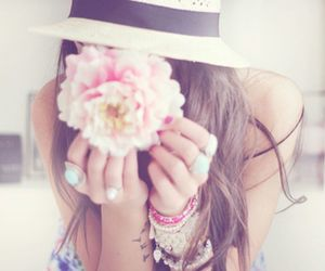 girl, flowers, and hat image