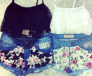 outfit, floral, and shorts image