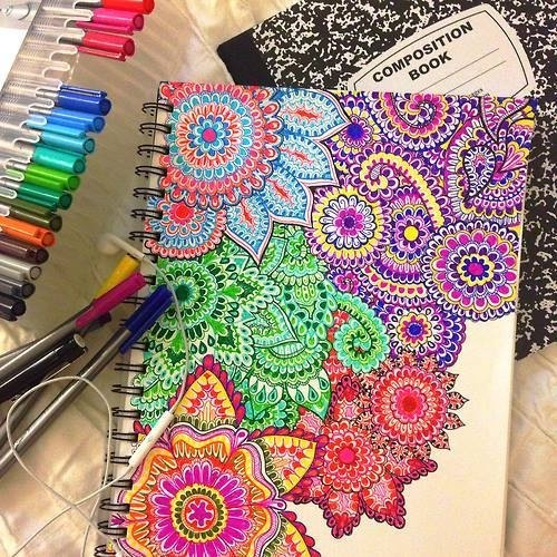 Colorful Flower Drawings Shared By Neon On We Heart It