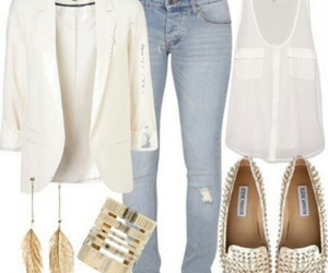 outfit, jeans, and white image