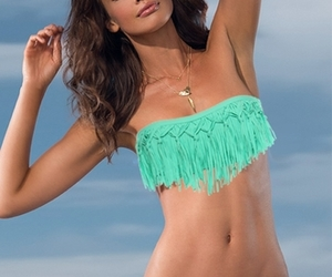 beach, bandeau swimsuit, and women swimsuit image