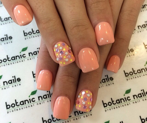salmon, peach nails, and botanic nails image