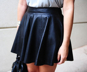 skirt, fashion, and leather image