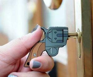 key, gun, and cool image