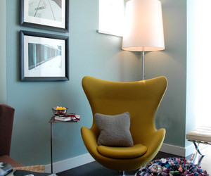 Cozy Corner Seating With Accent Green Lazy Chair Accompanied With Minimalist Side Table And Floor Lamp