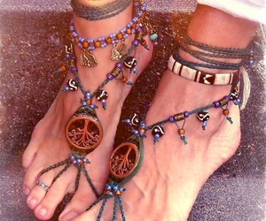 hippie, feet, and peace image