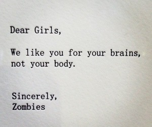 brain, girl, and zombies image