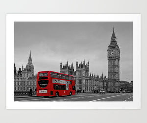 Big Ben, black and white, and bus image