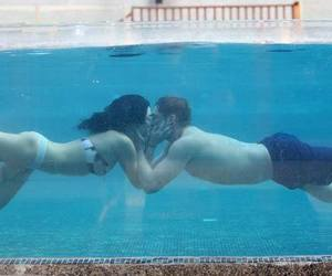 blue, water, and kiss image