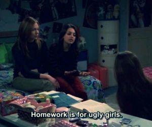 girl, homework, and ugly image