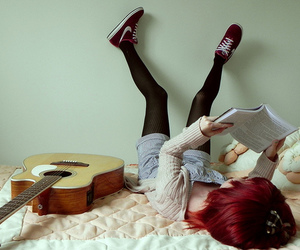girl, guitar, and book image