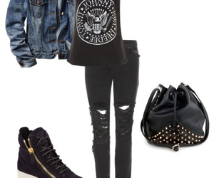 black, outfit, and black jeans image