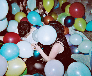balloon, colors, and people image