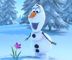 frozen, olaf, and flowers image