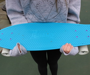 blue, penny, and skateboard image