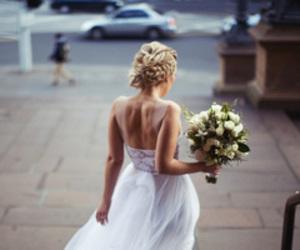 wedding, flowers, and dress image
