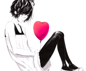 anime, heart, and balloons image